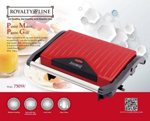 Royalty Line PM-750.1; Panini Grill 750WIl réchauffe instantanément votre panini ou votre sandwich préféré. Il peut également être utilisé pour griller des steaks
