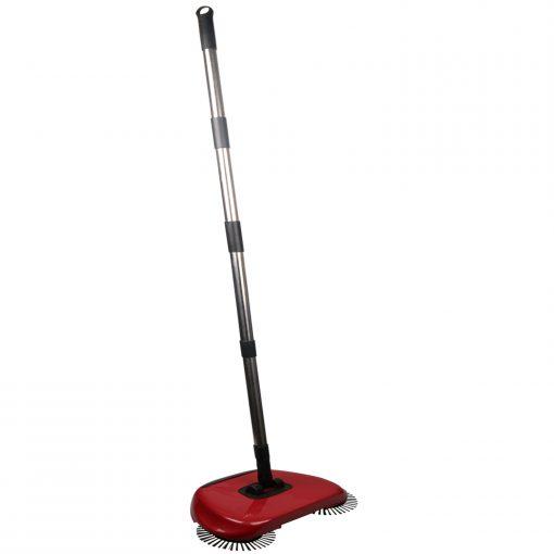 une balayeuse de sol et une poubelle. Cet outil de nettoyage innovant a une brosse cylindrique qui frotte et balaie le sol et 2 brosses circulaires sur le côté ramassent la saleté sur les zones difficiles à atteindre