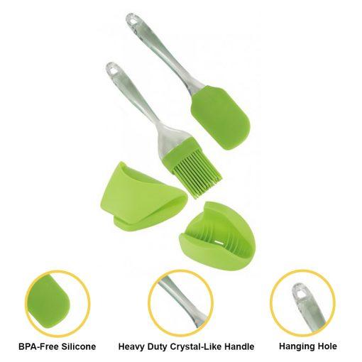 d'une spatule et de gants. Fabriqué à partir d'un matériau en silicone solide sans BPA durable et hygiénique. Cet ensemble d'outils de cuisson de qualité supérieure a une résistance à la chaleur élevée de 500 ° F / 260 ° C. La spatule est suffisamment ferme et parfaite pour mélanger les ingrédients humides et secs. La brosse