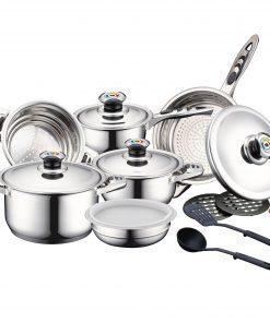 <p><b>Herzberg HG-16SS: Batterie de Cuisine 16 pièces en Inox Avec Couvercles en Acier Inoxydable</b></p><p>Répondez aux besoins de votre cuisine quotidienne avec l'ensemble de casseroles Herzberg 16 pièces en inox