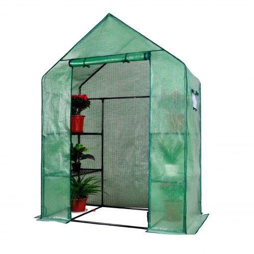 Herzberg HG-8002; Walk-In Greenhouse avec fenêtres   Cultivez votre plante dans un environnement pratique et porteur avec la serre chaude sans vis Herzberg HG-8002 avec Windows. Cette serre est portable et contient 3 étagères de chaque côté et est soutenue par un tube en métal de haute qualité. La conception crée un environnement propice à la croissance saine de vos plantes tout en protégeant des fortes pluies