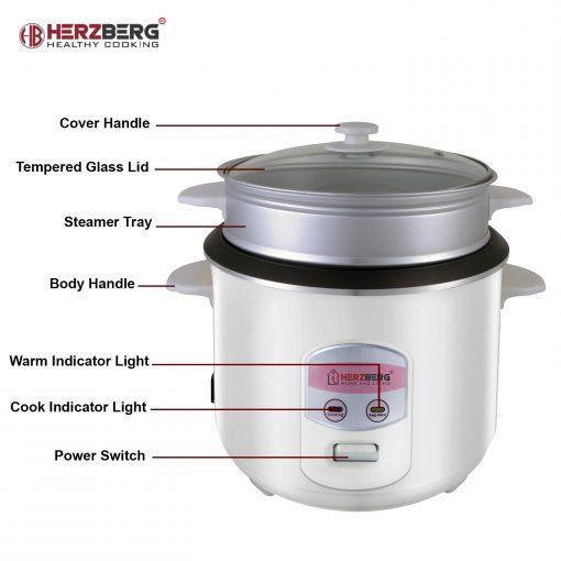 gain de temps et commodité du cuiseur et du cuiseur vapeur 2 en 1. Cette cuisinière multifonctions est capable de cuire le riz de manière uniforme et déclenche automatiquement la fonction de maintien au chaud en s'assurant que le riz moelleux sera conservé au chaud et au frais avant d'être servi. L'aluminium de qualité alimentaire avec revêtement antiadhésif est durable et facile à nettoyer. Et avec sa grande capacité
