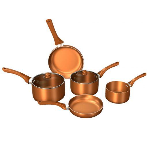 cette batterie de cuisine est conçue dans une couleur cuivrée brillante qui apporte de manière sophistiquée une esthétique remarquable à votre cuisine. Fabriqué à la perfection
