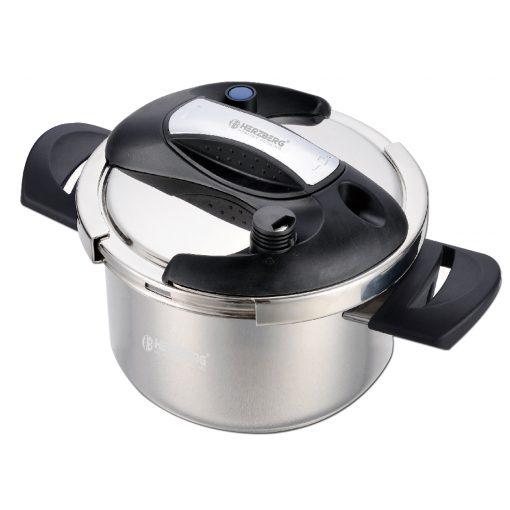 mais également la saveur d'humidité et les nutriments des aliments. Équipé de deux réglages de pression pour fournir la flexibilité de cuire même le régulateur à dégagement rapide de la vaisselle la plus délicate ainsi que le joint robuste scellant étroitement la chaleur et la vapeur pour une cuisson rapide. Équipé d'un régulateur de pression maintient automatiquement la bonne pression de cuisson. La surface externe est un revêtement en marbre sans PFOA qui est totalement antiadhésif sans produire de produit chimique toxique lorsqu'il est présenté à la chaleur et ne réagit pas chimiquement à aucun ingrédient alimentaire assurant la sécurité de votre famille tout en dégustant vos plats préférés. Cet autocuiseur remarquable fonctionne sur les cuisinières électriques
