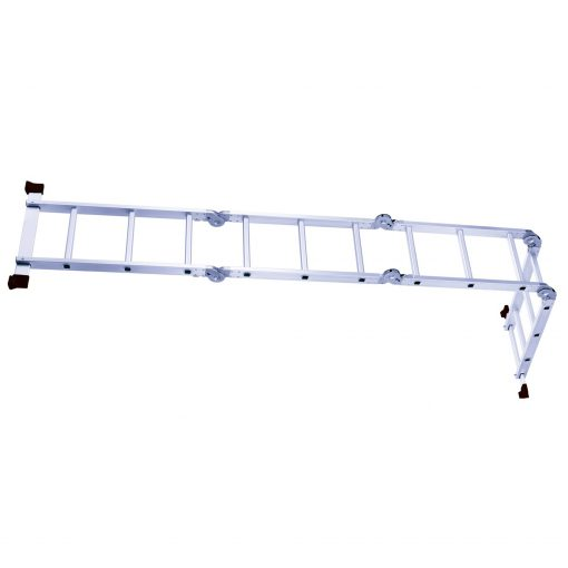 qui rend cette échelle pliante stable et répond à la norme EN131. Cette échelle a été construite avec un joint large qui offre plus de capacité de chargement et de durabilité. Elle est reliée par six serrures de sécurité