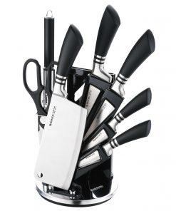 <p><b>Herzog HR-SND8-BLK: Ensemble de 8 couteaux - Noir</b></p><p>1 x affûteur<br />1 x couteau à pain (20cm)<br />1 x couteau d'office (10 cm)<br />1 x couteau hachoir (17
