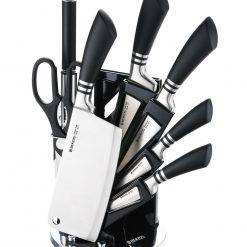 Herzog HR-SND8-BLK: Ensemble de 8 couteaux - Noir1 x affûteur1 x couteau à pain (20cm)1 x couteau d'office (10 cm)1 x couteau hachoir (17