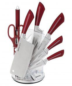 <p><b>Herzog </b><strong style='font-size: 18px;'>HR-SND8V-WRD</b><b>: Ensemble de 8 couteaux - Rouge</b></p><p>Revêtement en acier inoxydable de haute qualité<br />Facile à nettoyer et à sécher</p><p>1 x affûteur<br />1 x couteau hachoir (17