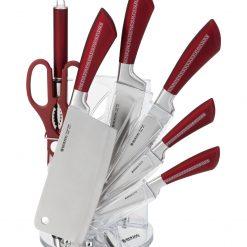 Herzog HR-SND8V-WRD: Ensemble de 8 couteaux - RougeRevêtement en acier inoxydable de haute qualitéFacile à nettoyer et à sécher1 x affûteur1 x couteau hachoir (17