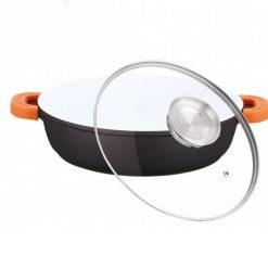 Herzog HR-CALC401CR; Aluminium Cocotte en céramique 40 cm 8.5L- Aluminium Cocotte en céramique- Longue aluminium solide et durable- Couvercle en verre transparent- Convient à toutes les sources de cuisine y compris l'induction- 40 cm- 8.5L