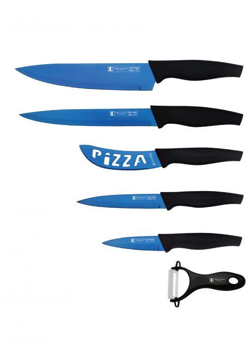 Imperial Collection IM-TT5B: Ensemble de 6 couteaux Premium - BleuAcier inoxydable de haute qualitéManteau premiumFacile à nettoyer et à sécherCouleur: bleu et or1 x couteau de chef1 x couteau à découper1 x couteau utilitaire1 x couteau d'office1 x couteau à pizza1 x éplucheur en céramique