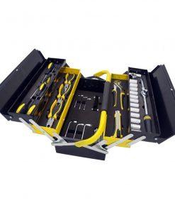 Manssberger 808.605: Ensemble d'outils de 58 pièces avec boîte à outils à cinq compartiments en porte-à-faux  L'ensemble d'outils 58 pièces de Manssberger est fourni avec tous les outils les plus utiles et nécessaires pour l'entretien à domicile et l'utilisation quotidienne. Tous les outils sont fabriqués avec une finition entièrement polie et chromée qui protège contre la corrosion. Nul besoin de vous soucier de laisser vos outils à l'extérieur: nos outils sont résistants à la rouille