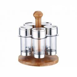 Peterhof PH-12873; Ensemble pour les épices 6pcsAcier inoxydable de haute qualité 18/10Support en boisTrou réglable6 articles:5 conteneurs pour les épicesStand