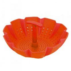 """Peterof PH-12837; Panier de cuisson à vapeur Matériel: antiadhésif Au four à 445 ° F/230 ° C Résistant à l'odeur  Lavable au micro-ondes  BPA FREE Taille: 9.3 """"x 6.5"""" x 3.5 """" (24cm x 16.5cm x 9cm) Couleurs: vert. rose. orange"""