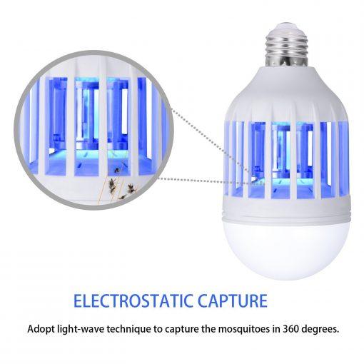 cette ampoule a un beau design moderne. Cette ampoule bug zapper adopte la technologie d'ondes lumineuses la plus récente et la capture électrostatique avec un piège à insectes intégré qui est efficace pour tuer les insectes