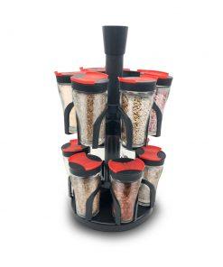 <p><b>Herzberg HG-6004; Etagère à épices à 12 pots en verre</b></p><p>Pot de verre LFGB de haute qualité avec couvercle</p><p>Double ouverture pour un arrosage pratique</p><p>Support rotatif flexible</p><p>Stockage pratique et facile</p><p>Economise de l'espace</p><p>Beau design</p><p><img alt='' src='https://www.msy.be/images/Image/Image/Herzberg/Image%201%20Animated.jpg?1528712984579' style='width: 750px; height: 750px;' /></p>