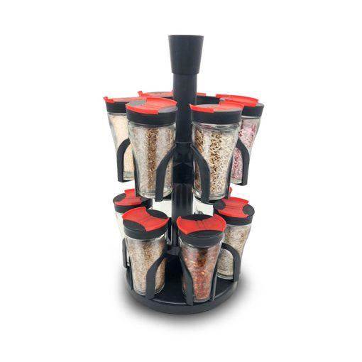 Herzberg HG-6004; Etagère à épices à 12 pots en verrePot de verre LFGB de haute qualité avec couvercleDouble ouverture pour un arrosage pratiqueSupport rotatif flexibleStockage pratique et facileEconomise de l'espaceBeau design
