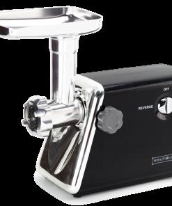Royalty Line MG5; Robot hachoir de viandeLames en acier inoxydable - Accessoires multiples - Large zone de sortie des aliments - Spatule pour un remplissage facileet sûr - Interrupteur marche/arrêt - Réglage sens inverse - Pied antidérapant - 220-240V~50/60Hz – 3Lame transversale et 3 lames de coupe (3.0