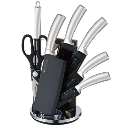 Imperial Collection IM-SHN8: Ensemble De Couteaux 8 Pièces Avec SupportL'ensemble de couteaux 8 pièces avec support IM-SHN8 de la collection Impériale est un ensemble de couteaux haut de gamme très polyvalent pour de nombreuses utilisations dans les cuisines. Fabriqué à partir d'un acier inoxydable de haute qualité