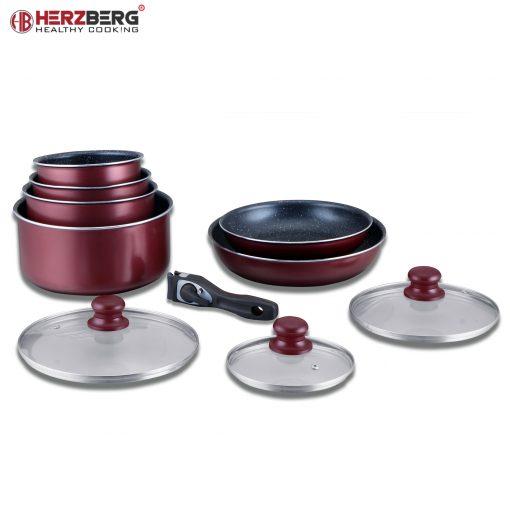 Herzberg HG-5000: Batterie De Cuisine 10 Pièces Avec Revêtement En MarbreIdéal pour un usage domestique et professionnel ou vous souhaitez simplement mettre à niveau vos ensembles de batterie de cuisine de base avec le Herzberg HG-5000