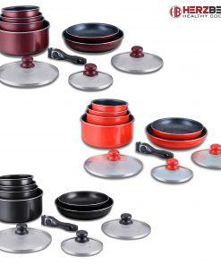 un ensemble de batterie de cuisine 10 pièces avec revêtement en marbre qui comprend tous les éléments essentiels de cuisson dont vous avez besoin. Fabriqué à partir d'un aluminium renforcé robuste qui fournit une distribution de chauffage rapide et excellente. Le revêtement est fabriqué à partir d'un revêtement en marbre à 2 couches qui est ultra-durable et résistant aux rayures et même sûr à utiliser des ustensiles en métal pendant la cuisson