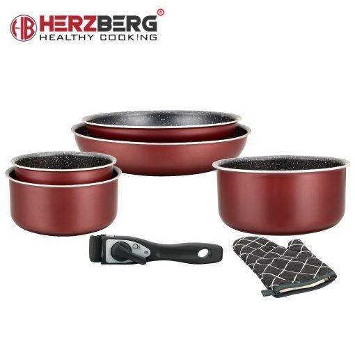 cet ensemble est une collection de poêles à frire et de casseroles. Construit avec de l'aluminium forgé et enduit à l'intérieur de couches de marbre antiadhésif