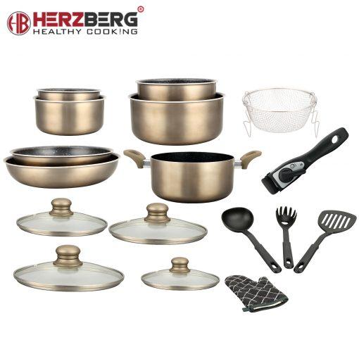 la fiabilité et la commodité de cet ensemble de batterie de cuisine remarquable de Herzberg. Chargé avec les essentiels de cuisine de tous les jours