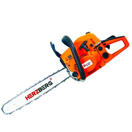 Herzberg HG-5800: Tronçonneuse ThermiqueLa scie à chaîne thermique Herzberg HG-5800 fournit l'énergie nécessaire à la coupe du bois. Cette tronçonneuse à haute efficacité