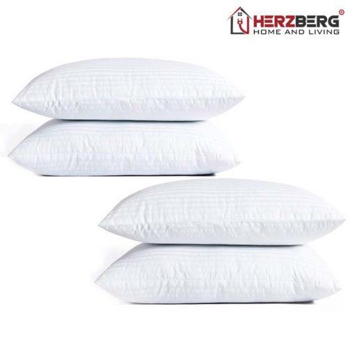 luxueux et élégant et grand. L'ensemble de quatre oreillers alternatifs en duvet comprend un rembourrage en fibres douces pour un soutien ferme et parfait pour les personnes allergiques. La housse / coque est en poly coton mercerisé. les oreillers résistent aux déplacements et à la compression des oreillers avec le temps Le rembourrage complet de l'oreiller permet un confort maximal dans toutes les positions de sommeil. Fournit du confort à ceux qui souffrent d'asthme
